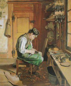 Švec, Ferdinand Hodler, 1878, Zdroj: https://www.wikiart.org/en/ferdinand-hodler/the-shoemaker-1878