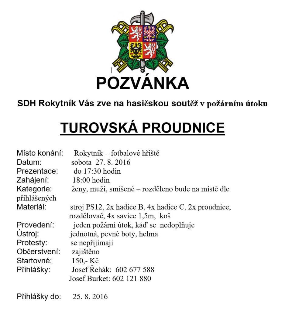 """Pozvánka na soutěž """"TUROVSKÁ PROUDNICE"""""""